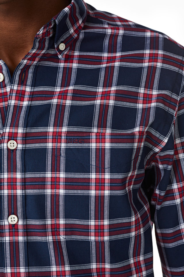 Cotton Poplin Shirt in Check Regular Fit