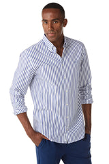 Cotton Shirt with Small Bar Stripe in Regular Fit