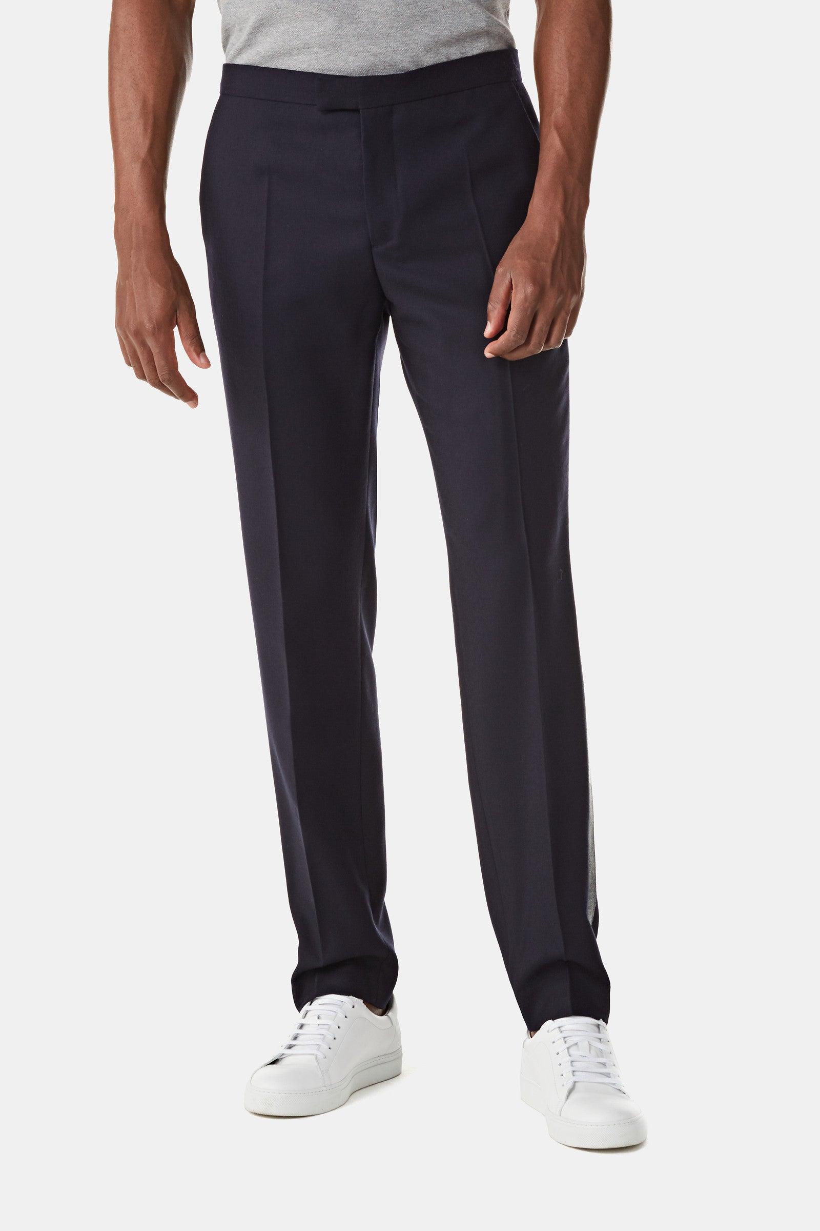 Solid Wool Cuffed Pant