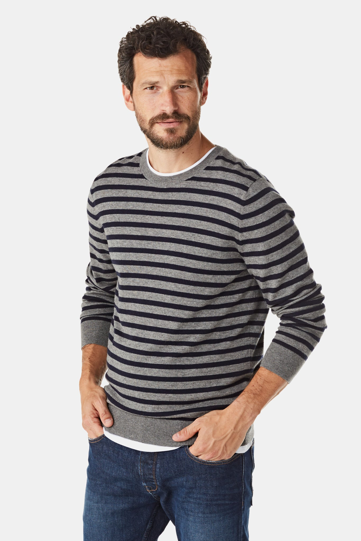 Stripe Sweater in Cotton Cashmere