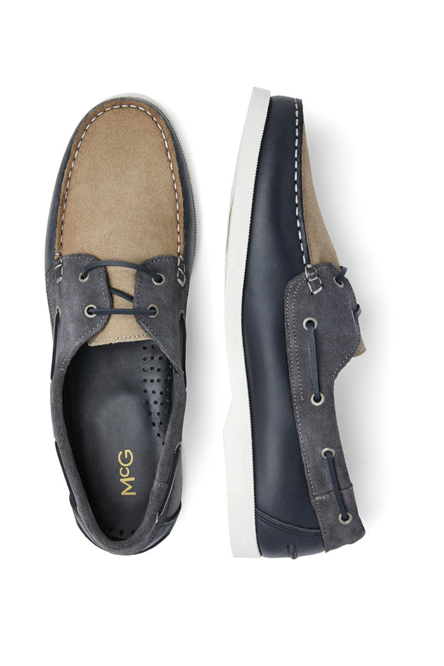 McG leather boat shoes with non-slip soles