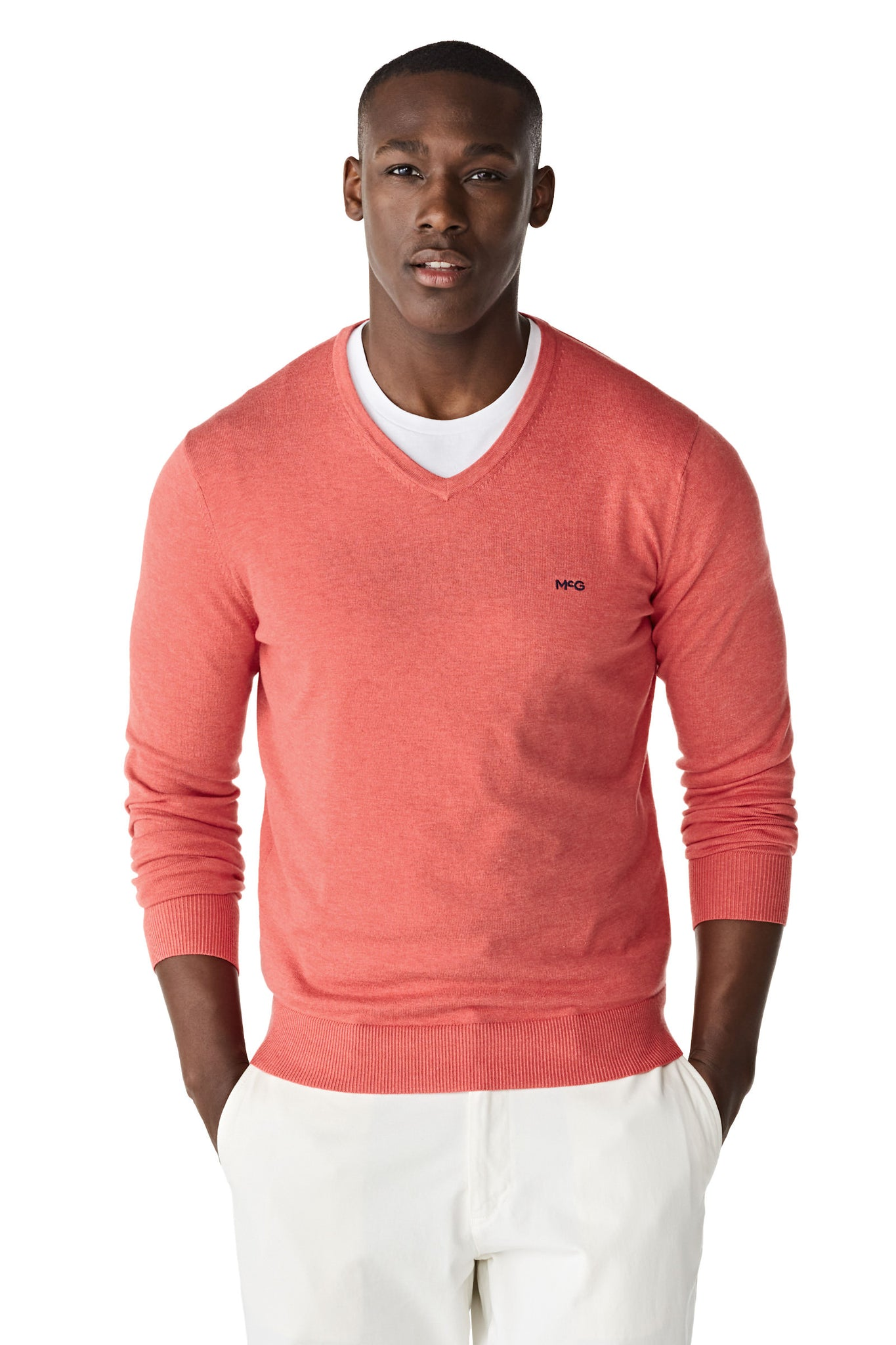 V-neck sweater in cotton silk blend
