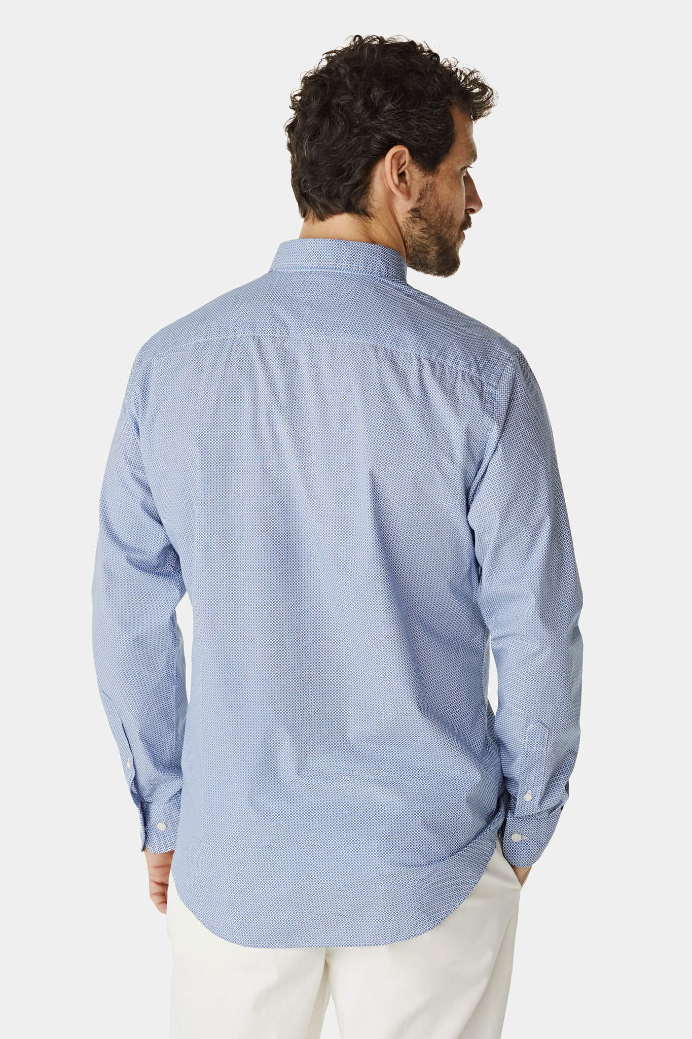 Regular fit shirt with blue dots pattern