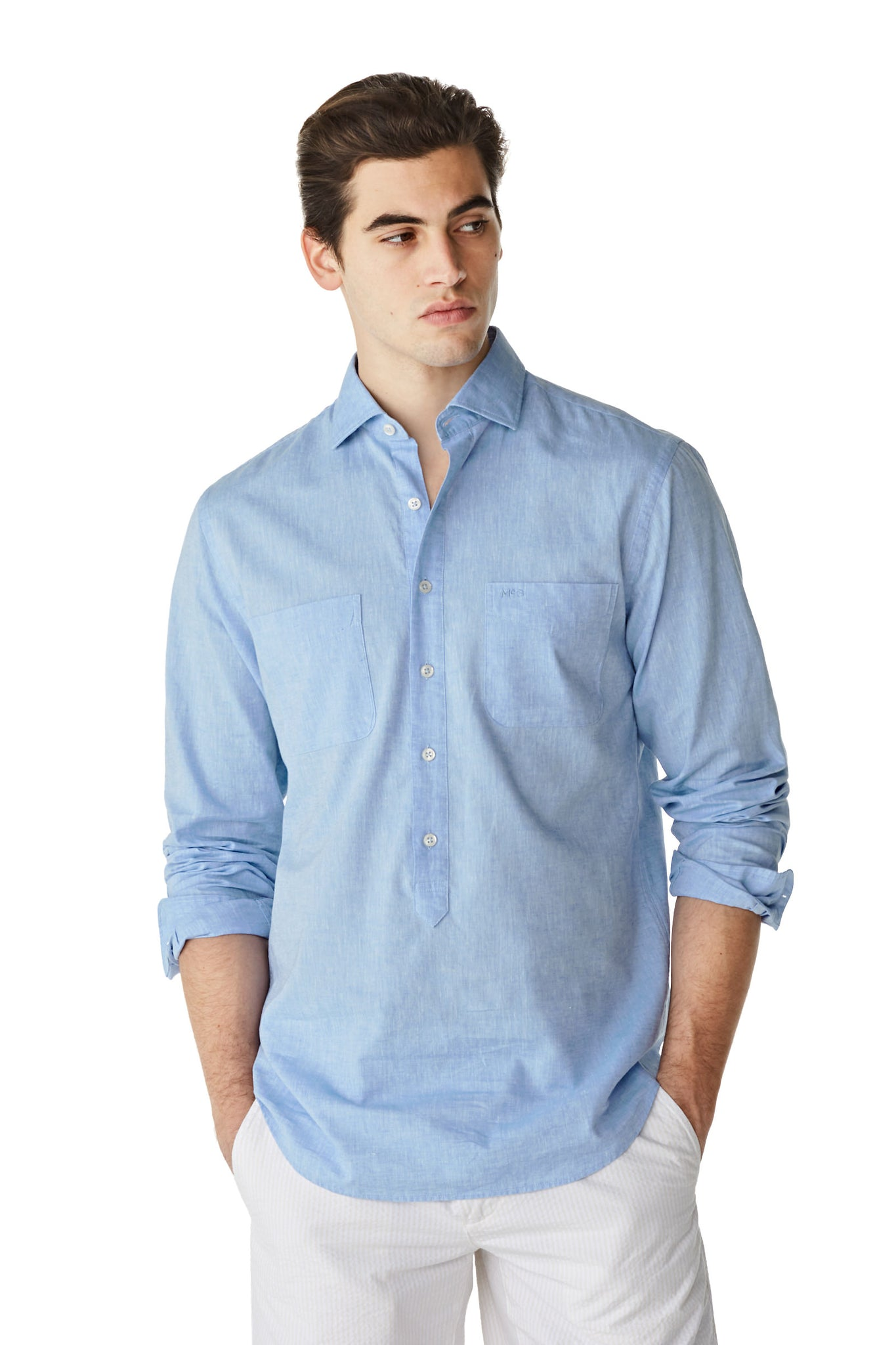 McG Regular fit Popover shirt cotton and linen blend
