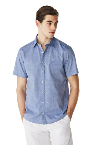 McG Regular fit short-sleeved shirt in linen blend