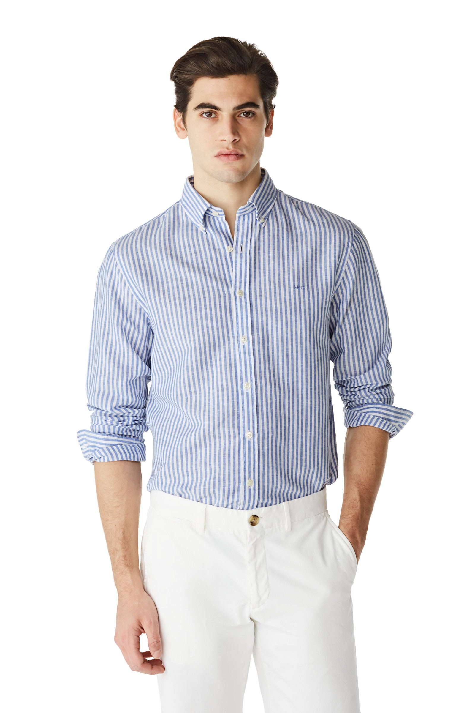 McG Regular Fit striped shirt in cotton linen blend