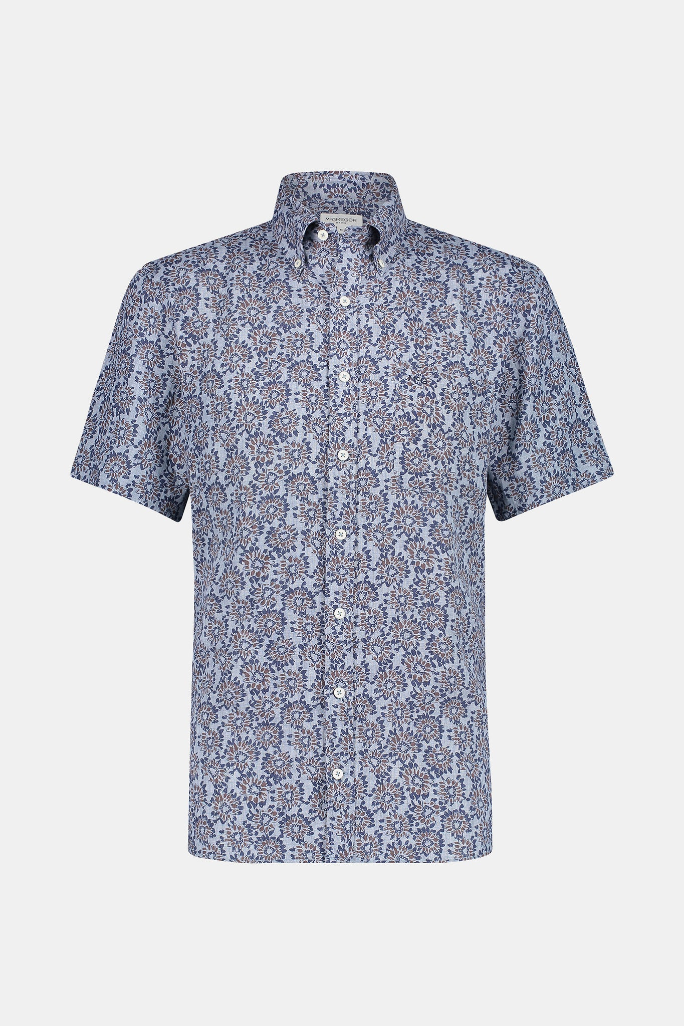 regular fit linen shirt with flower print