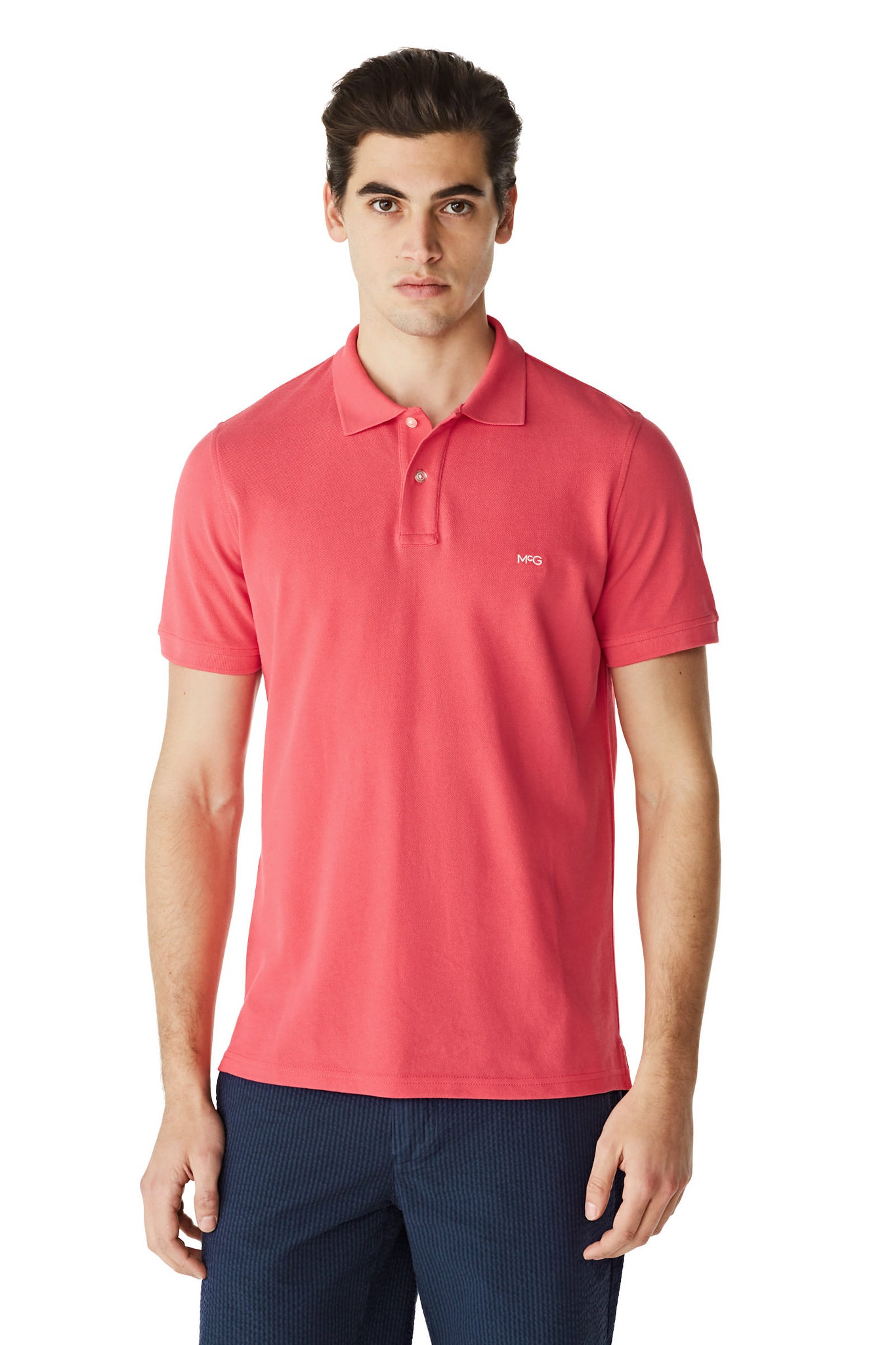 Regular fit cotton pique polo