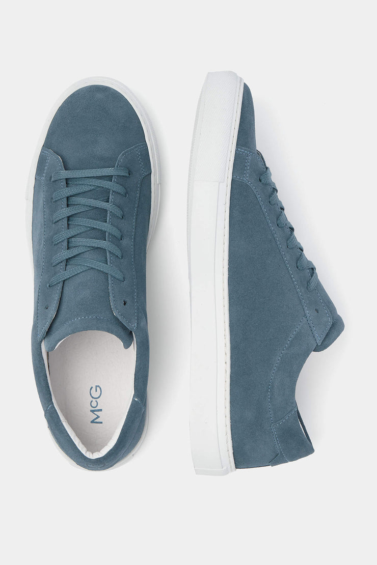 Blue suede sneakers