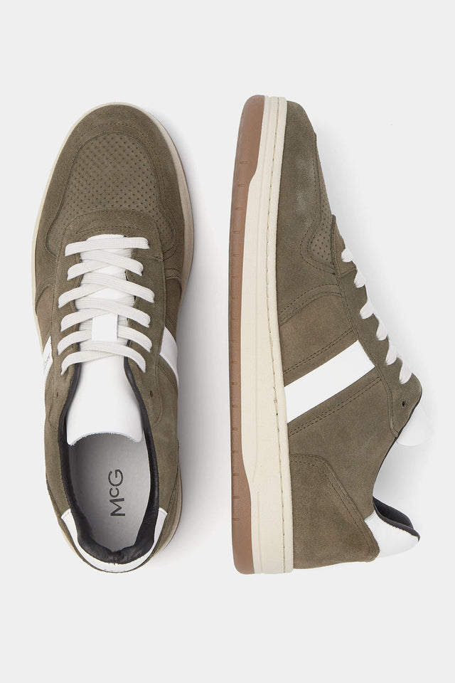 Olive Green sneakers leather with chunky soles