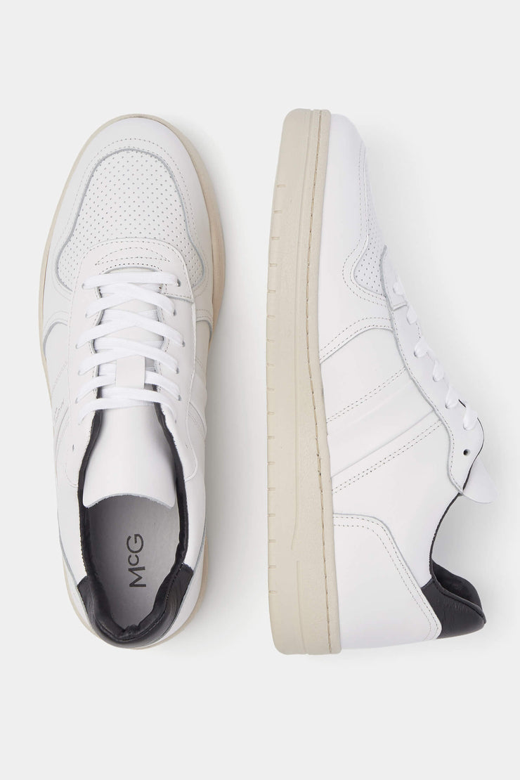 White leather sneakers with chunky soles