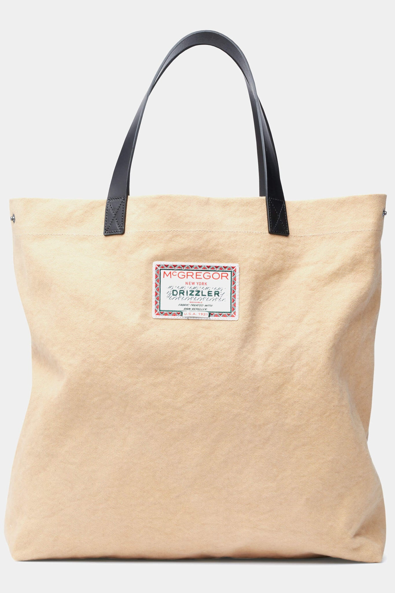 Tote bag from sturdy canvas and leather handles