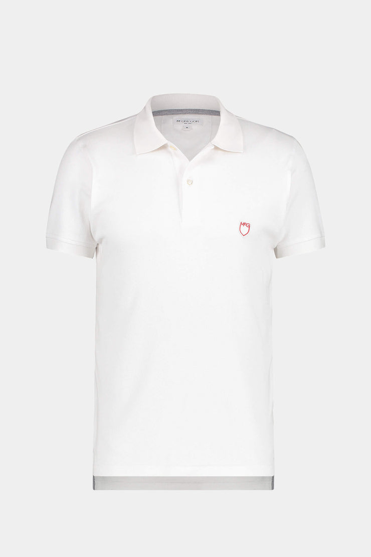 Slim fit pique polo with stretch
