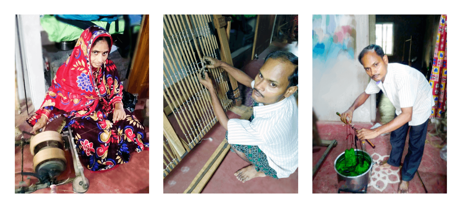 Weaver tying and dying a saree.
