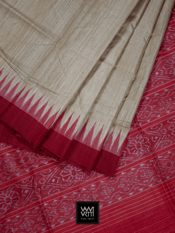Off White Red Ikkat Saukini Traditional Gopalpur Khadi Tussar Silk Saree