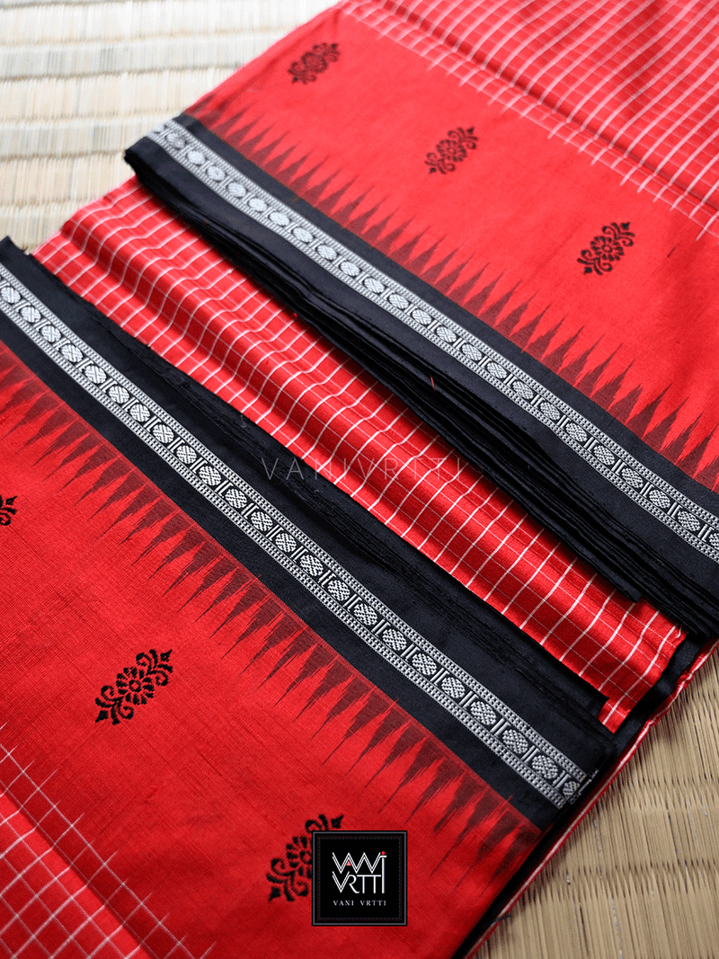 Red Black Ek Phulia Checks Mulberry Silk Saree