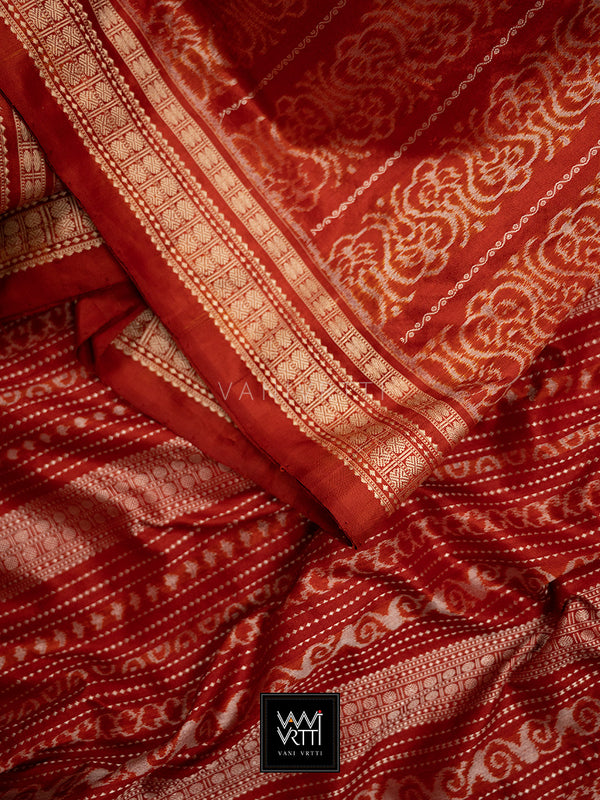 Madder Red Lata Praakrtik Natural Dyed Mulberry Silk Ikat Saree