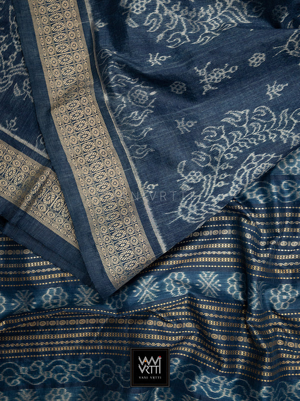 Indigo Padmaja Praakrtik Natural Dyed Mulberry Silk Ikat Saree