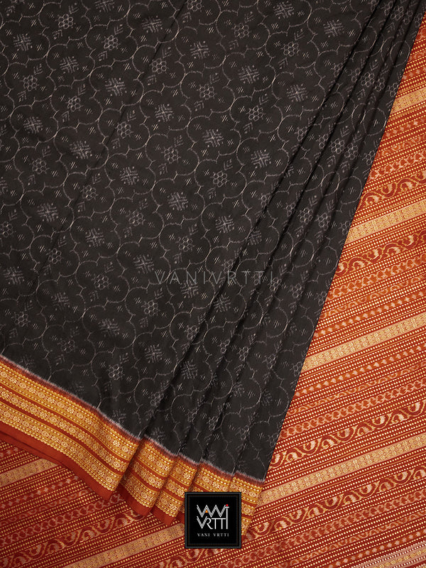 Iron Rust Black Madder Shamma Praakrtik Natural Dyed Mulberry Silk Ikat Saree