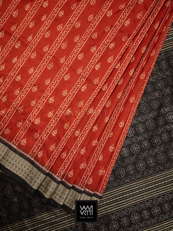 Madder Red Black Sacred Peepal Praakrtik Natural Dyed Mulberry Silk Ikat Saree