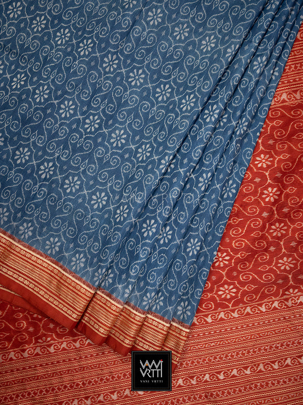 Indigo Red Jhoti Praakrtik Natural Dyed Mulberry Silk Ikat Saree