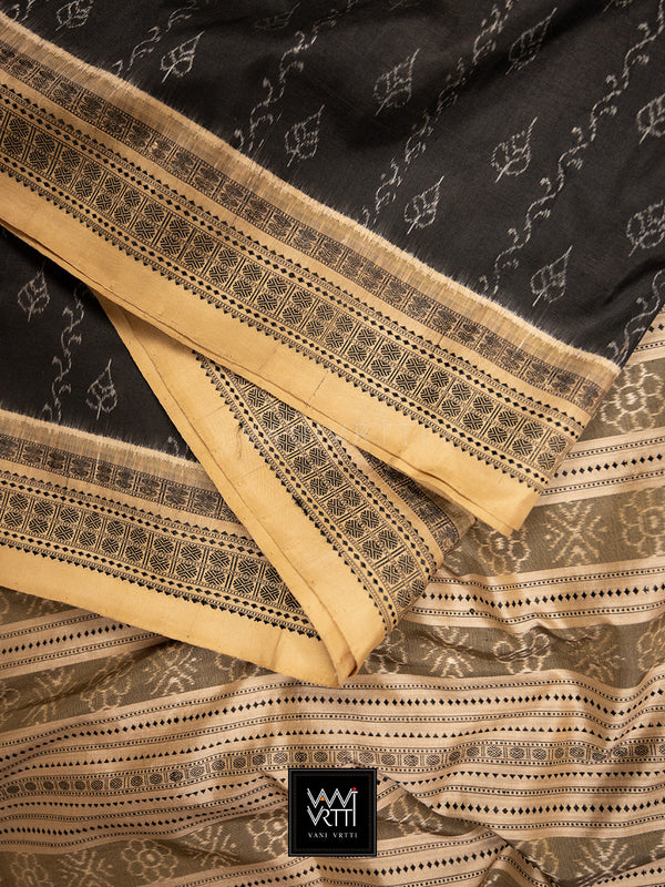 Iron Rust Black Beige Sacred Peepal Praakrtik Natural Dyed Mulberry Silk Ikat Saree