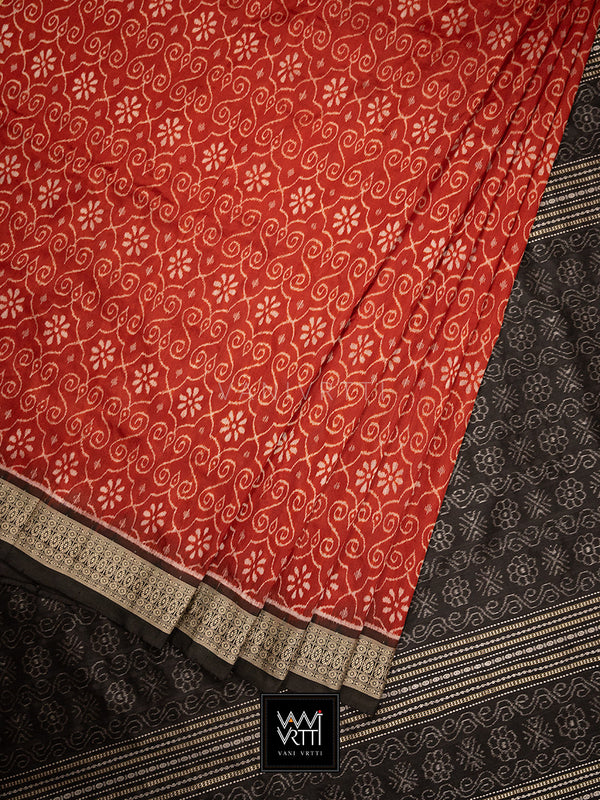 Madder Red Black Jhoti Praakrtik Natural Dyed Mulberry Silk Ikat Saree