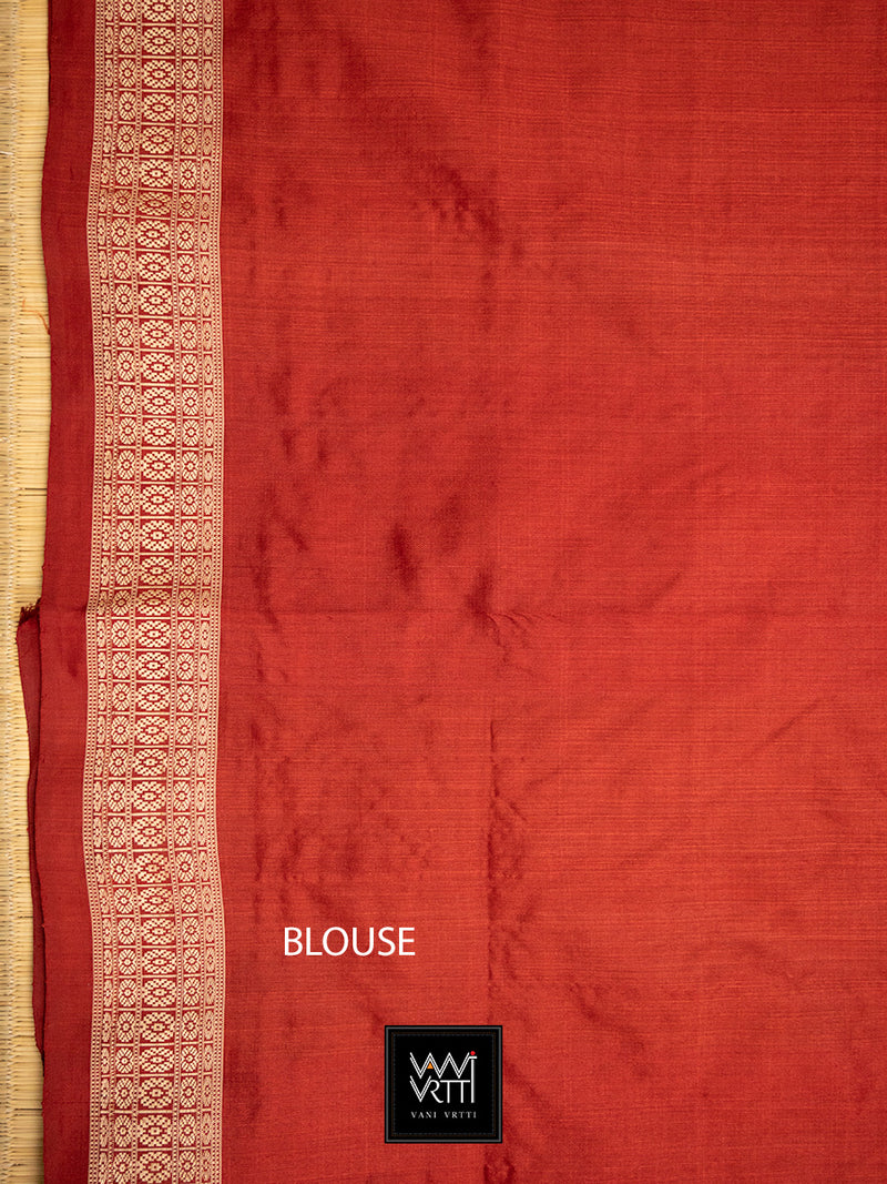 Madder Red Padmaja Praakrtik Natural Dyed Mulberry Silk Ikat Saree
