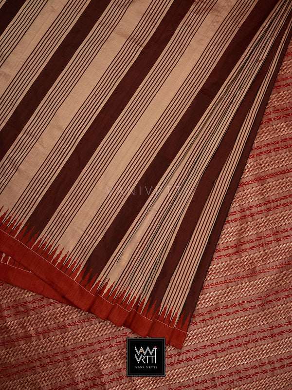 Tea Brown Stripes Phoda Kumbha Praakrtik Natural Dyed Mulberry Silk Ikat Saree