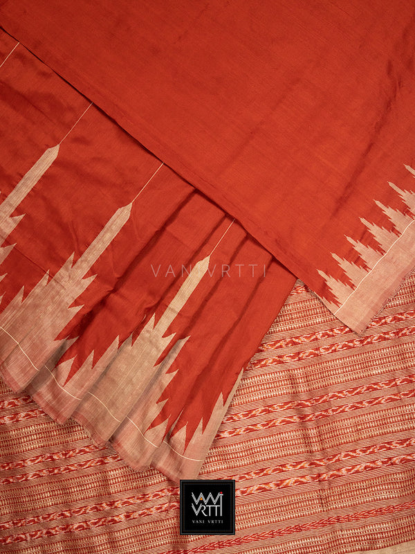 Madder Red Temple Border Phoda Kumbha Praakrtik Natural Dyed Mulberry Silk Ikat Saree