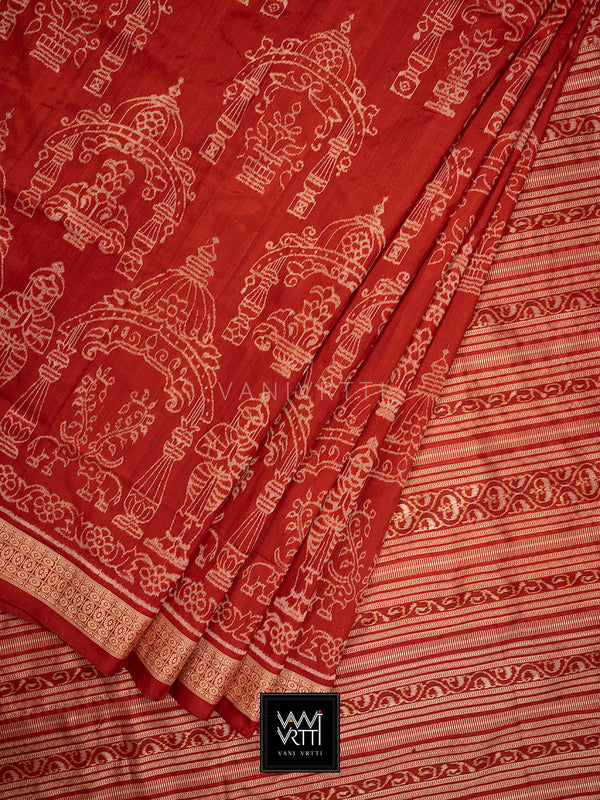 Madder Red Tulasi Praakrtik Natural Dyed Mulberry Silk Ikat Saree