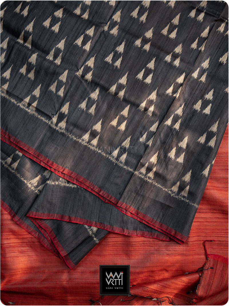 Black Red Alpana Khadi Tussar Silk Saree