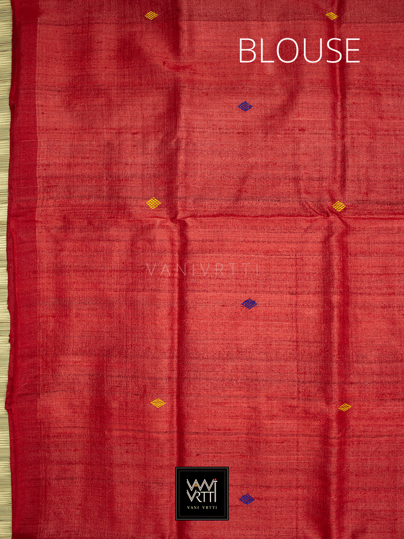 Sky Blue Red Nadi Khadi Tussar Silk Saree