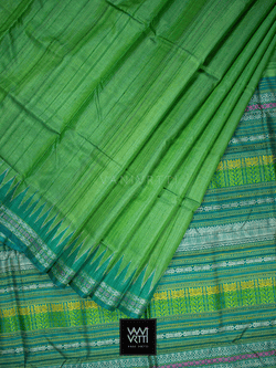 Leaf Green Katchhap Khadi Tussar Silk Saree