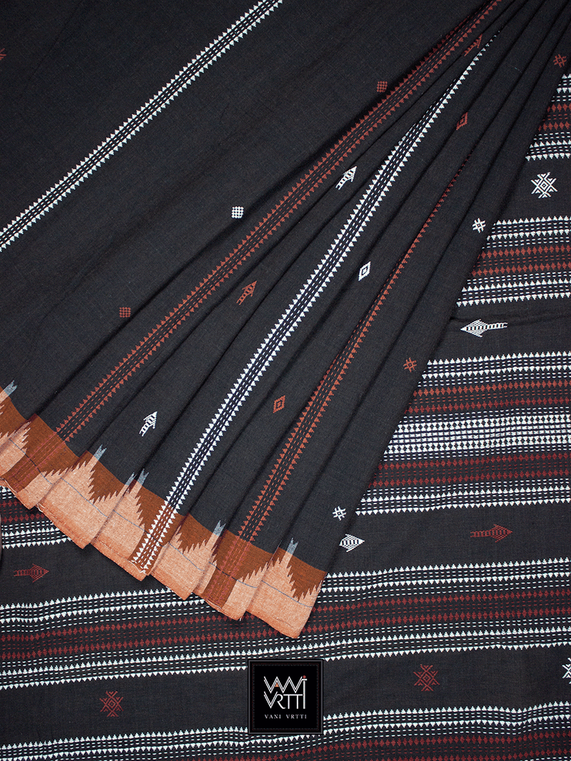Deep Coffee Rust Natural Dyed Phoda Kumbha Handwoven Cotton Kotpad Saree