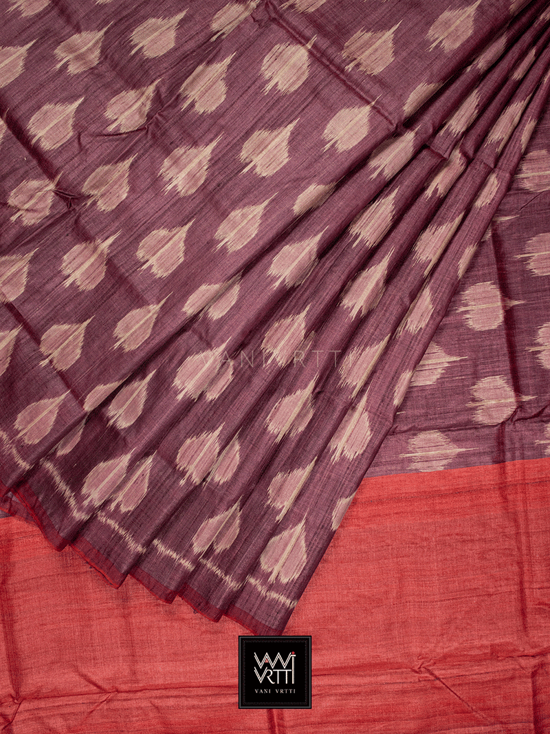 Burgundy Red Peepal Ikat Khadi Tussar Silk Saree