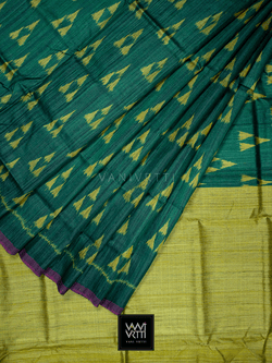 Emerald Green Lemon Alpana Khadi Tussar Silk Saree