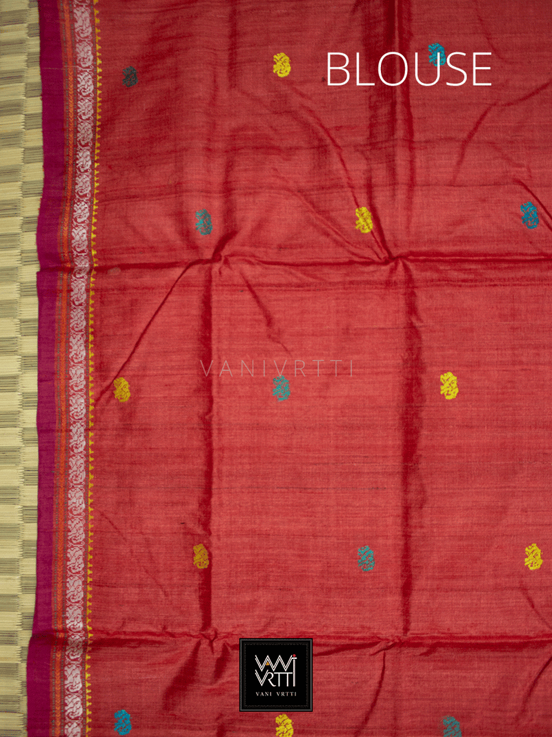 Off White Red Airavata Konark Double Palla Khadi Tussar Silk Saree