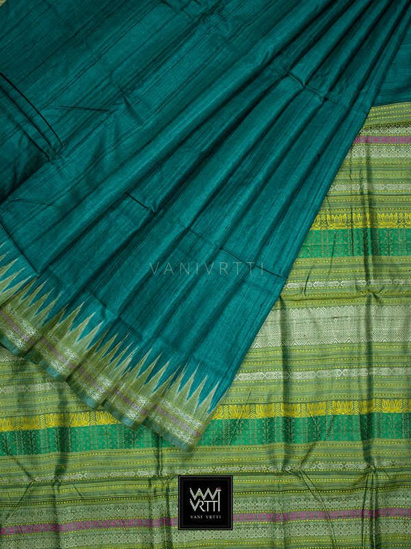 Deep Teal Green Katchhap Khadi Tussar Silk Saree