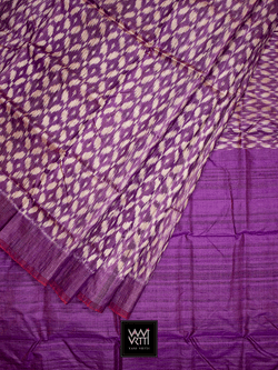 Reddish Purple Lily Ikat Khadi Tussar Silk Saree