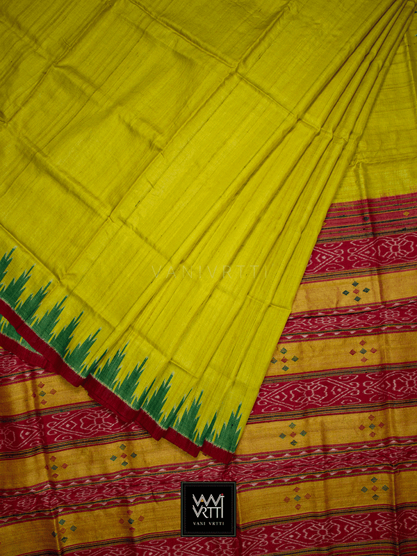 Banana Yellow Bottle Green Red Nadi Khadi Tussar Silk Saree