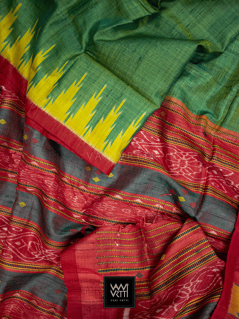 Leaf Green Yellow Nadi Khadi Tussar Silk Saree