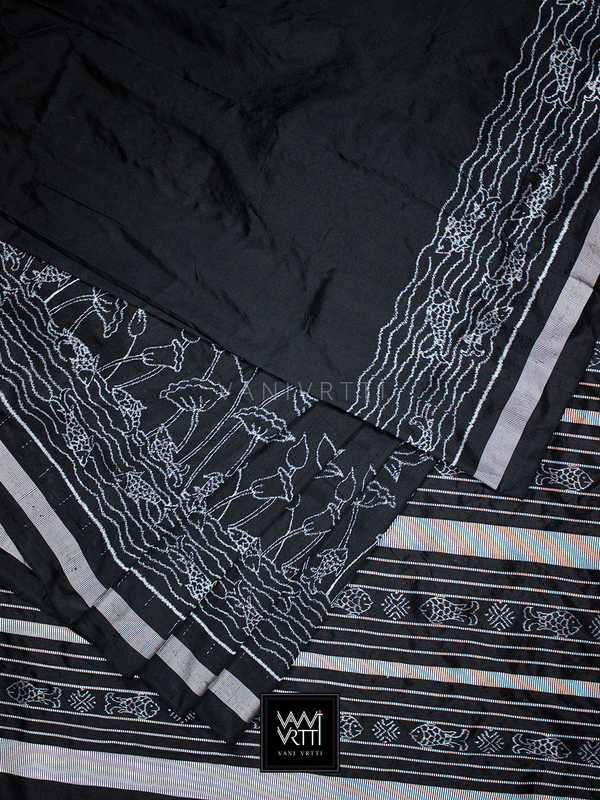 Black Lotus Pond Designer Pure Mulberry Silk Ikat Saree