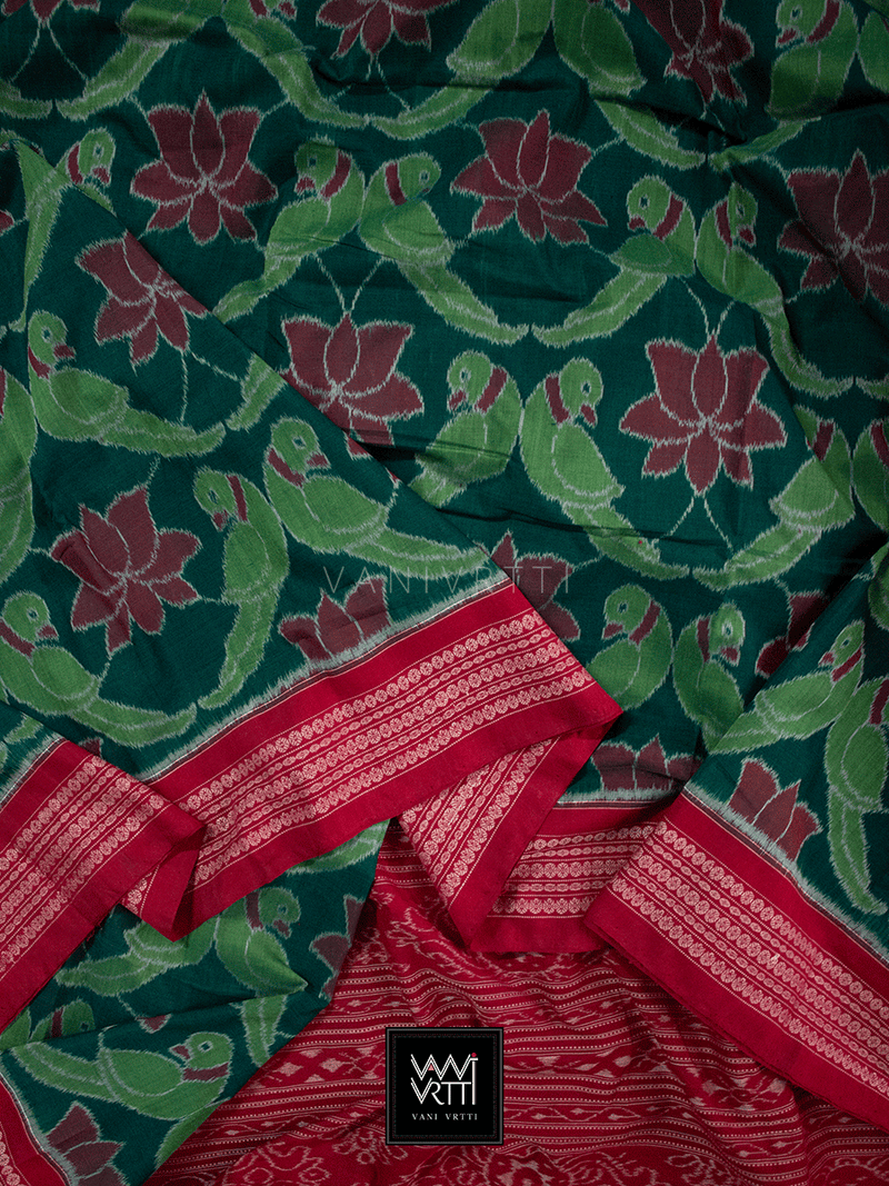 Bottle Green Maroonish Red Lotus Parrot Fine Cotton Ikat Saree