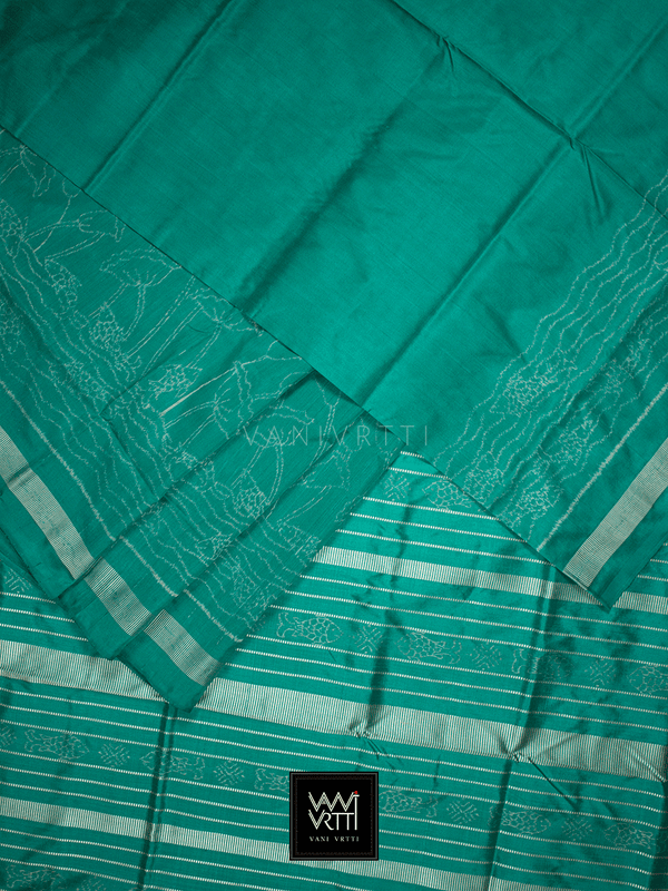 Sea Green Lotus Pond Designer Pure Mulberry Silk Ikat Saree