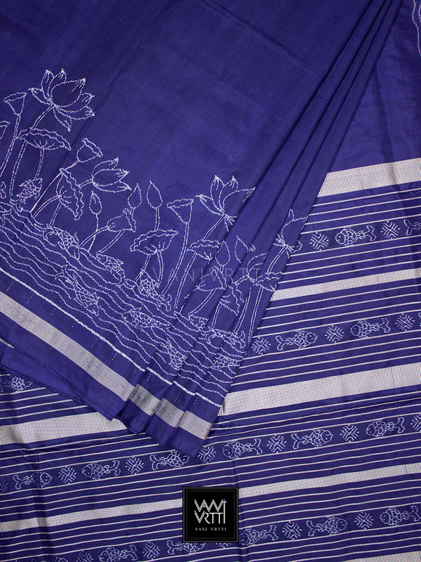 Navy Blue Lotus Pond Designer Pure Mulberry Silk Ikat Saree