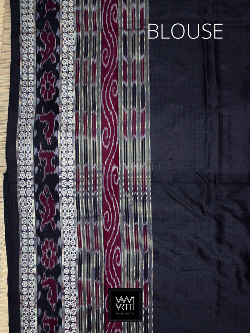 Off White Black Sachipar Traditional Mulberry Silk Saree