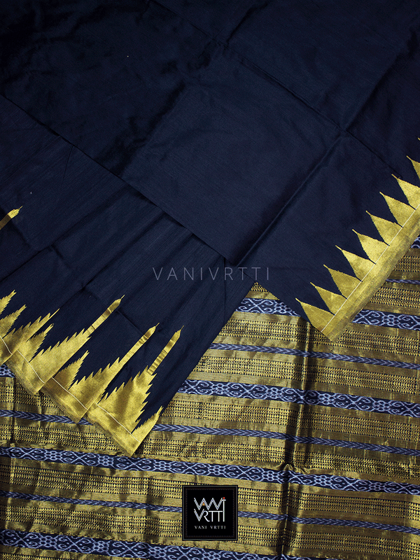 Black Temple Border Phoda Kumbha Master Weave Mulberry Silk Saree