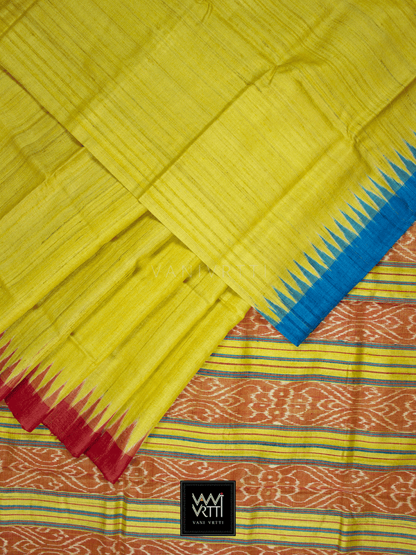 Banana Yellow Red Firozi Antara Khadi Tussar Silk Saree