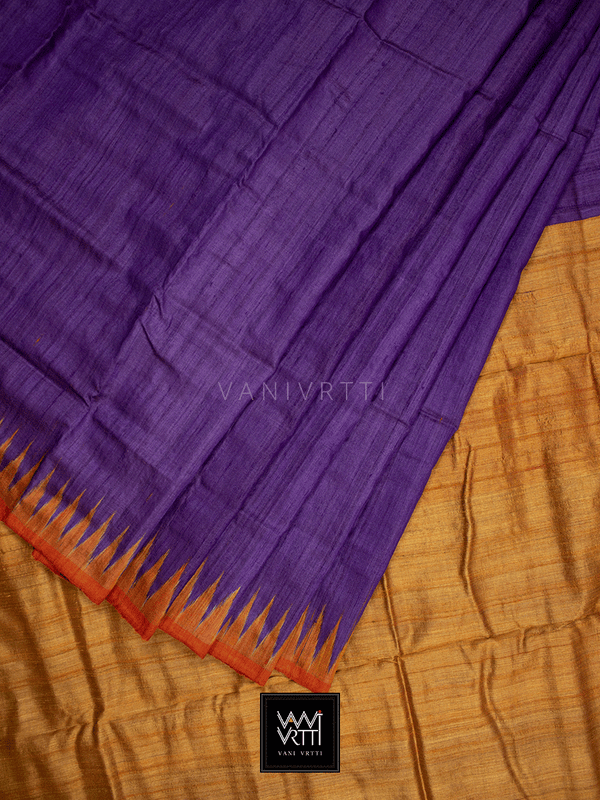 Baingani Orange Antara Khadi Tussar Silk Saree